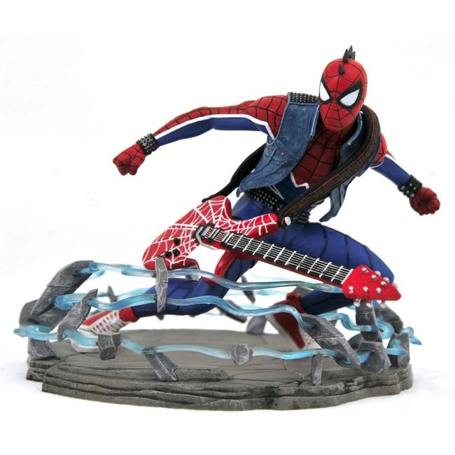 Diamond Select Toys Spider-Man 2018 Marvel Video Game Gallery PVC Statue Spider-Punk Exclusive 18 cm