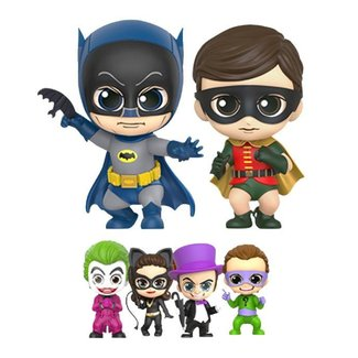 Hot Toys Batmans 1966 Cosbaby Mini Figure Box Set Batman, Robin and Villains 11 cm
