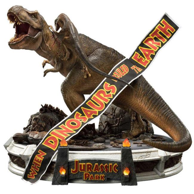 Prime 1 Studio Jurassic Park Statue 1/8 T-Rex vs Velociraptors in the Rotunda 65 cm