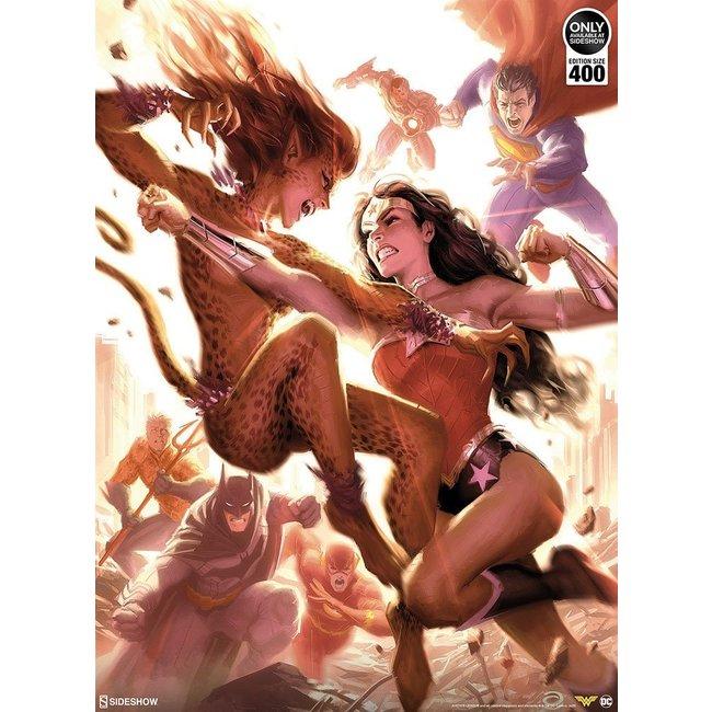 Sideshow Collectibles DC Comics Art Print Justice League: Wonder Woman vs Cheetah 46 x 61 cm - unframed