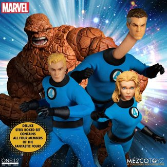 Mezco Toys Marvel Action Figures 1/12 Fantastic Four Deluxe Steel Box Set 16 cm