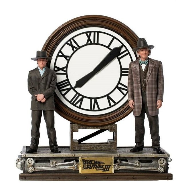 Iron Studios Back to the Future III Deluxe Art Scale Statue 1/10 Marty and Doc at the Clock 30 cm