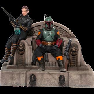 Iron Studios Star Wars The Mandalorian Deluxe Art Scale Statue 1/10 Boba Fett & Fennec on Throne 23 cm