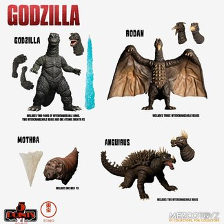 Mezco Toys Godzilla: Destroy All Monsters 5 Points XL Action Figures Deluxe Box Set Round 1 11 cm