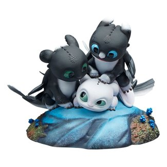Sideshow Collectibles How to Train Your Dragon: The Hidden World Statue Dart, Pouncer and Ruffrunner 15 cm