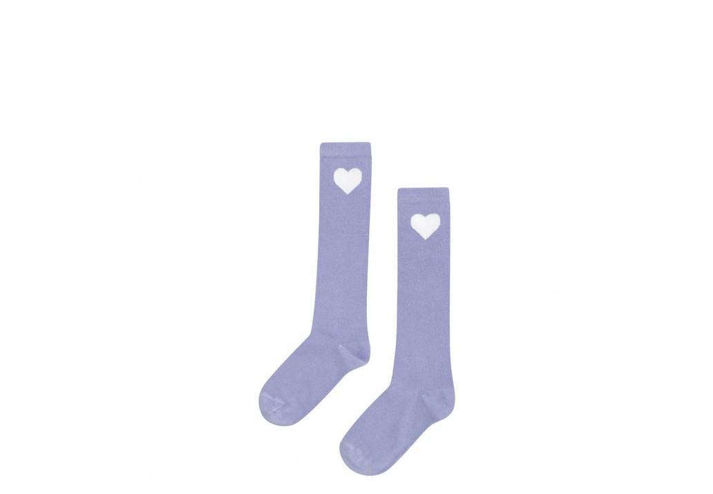 Knee socks Lilac heart