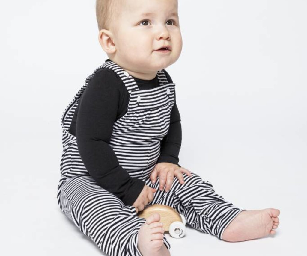 Salopette B/W stripes