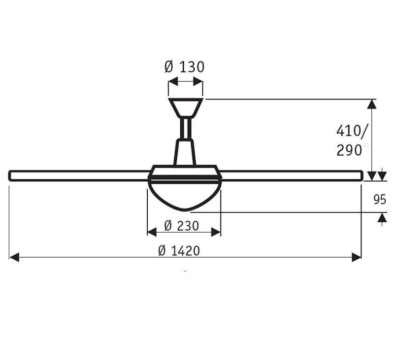 Plafondventilator Fantasy mat-chroom + transparant