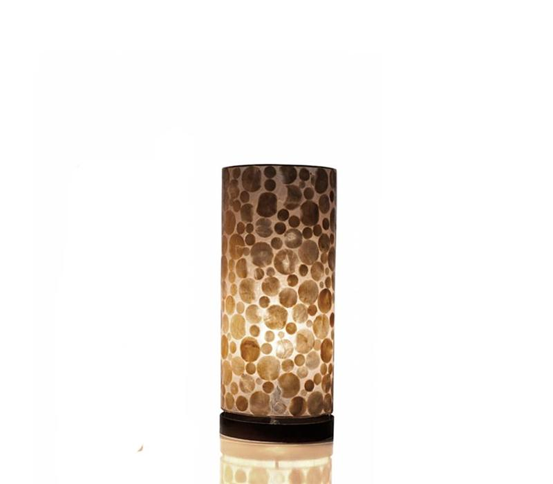 Tafellamp schelp Coin Gold cilinder groot