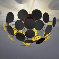 Plafondlamp Discalgo zwart goud