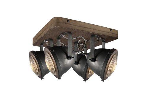Freelight Spot Woody 4 lichts zwart-hout