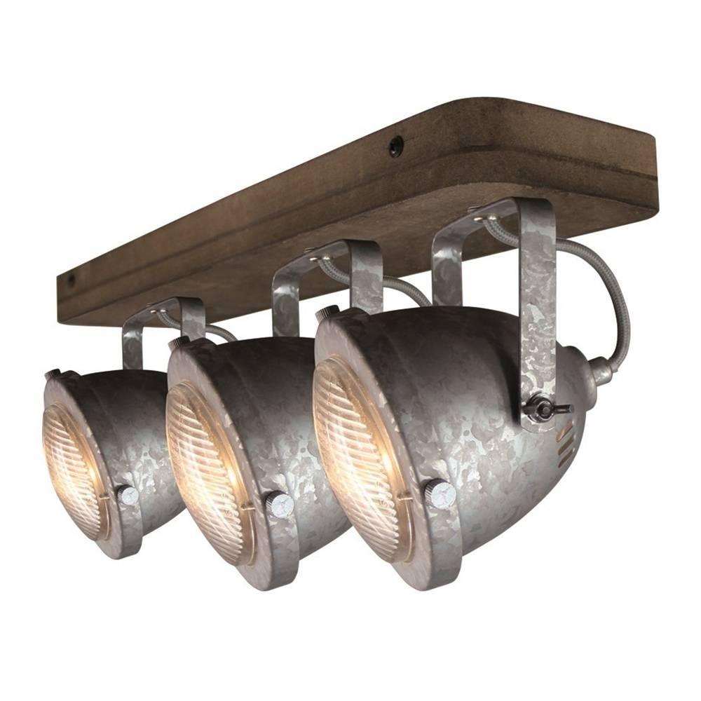 Freelight Spot Woody 3 lichts zink-hout