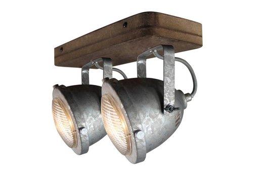 Freelight Spot Woody 2 lichts zink-hout