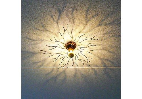 i-Lumen Plafondlamp Bichero Ø 60 cm goud-bruin incl LED Kopspiegel