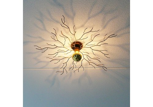 i-Lumen Plafondlamp Bichero Ø 80 cm goud-bruin incl LED Kopspiegel
