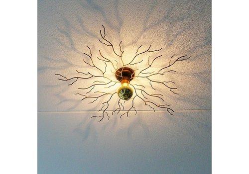 i-Lumen Plafondlamp Bichero groot goud incl LED Kopspiegel