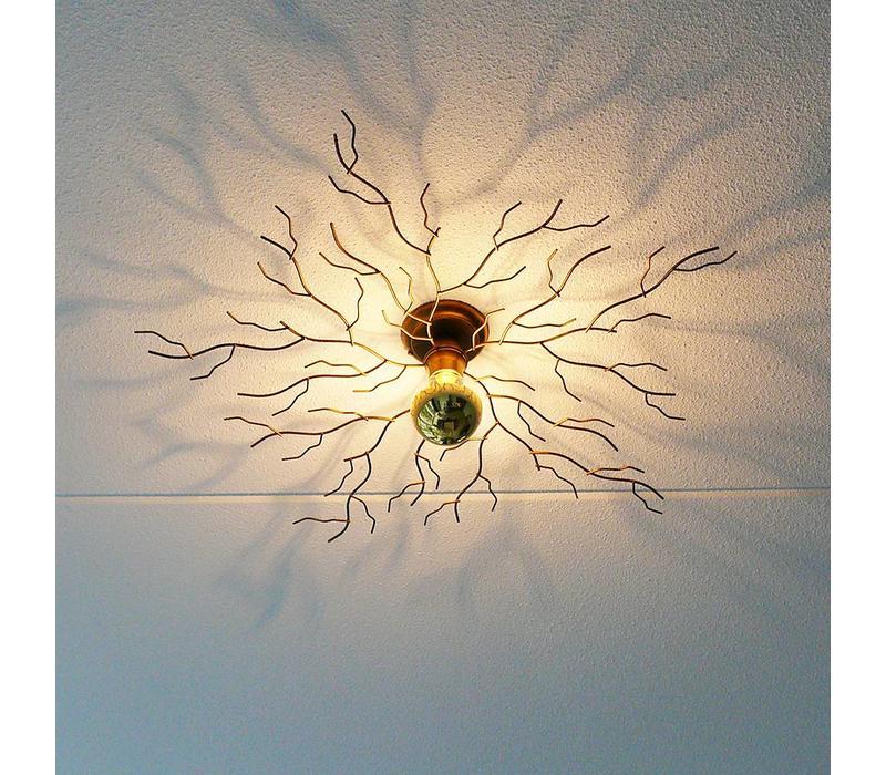 Plafondlamp Bichero Ø 80 cm goud-bruin incl LED Kopspiegel