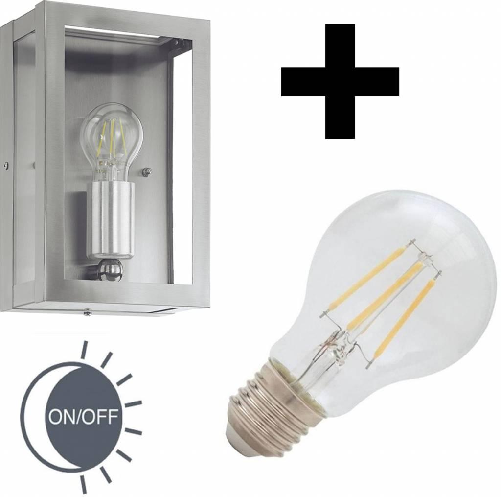 Eglo Buitenlamp Alamonte RVS dag-nacht sensor