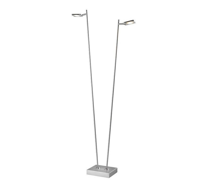 Vloerlamp Block mat chroom 2 lichts