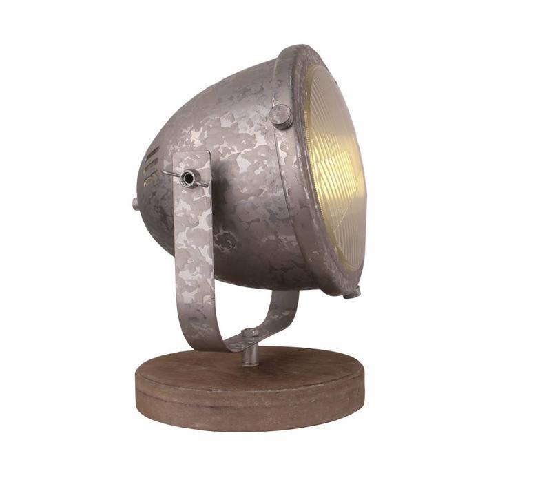 Tafellamp Woody zink-hout