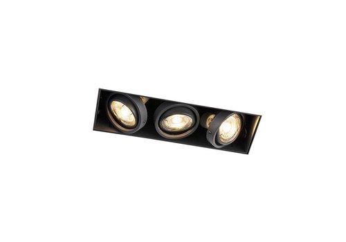 Lamponline Inbouwspot Bado 3 lichts Gu10 zwart Trimless