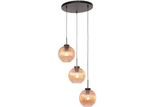 Freelight Hanglamp Zucca 3 lichts rond Amber