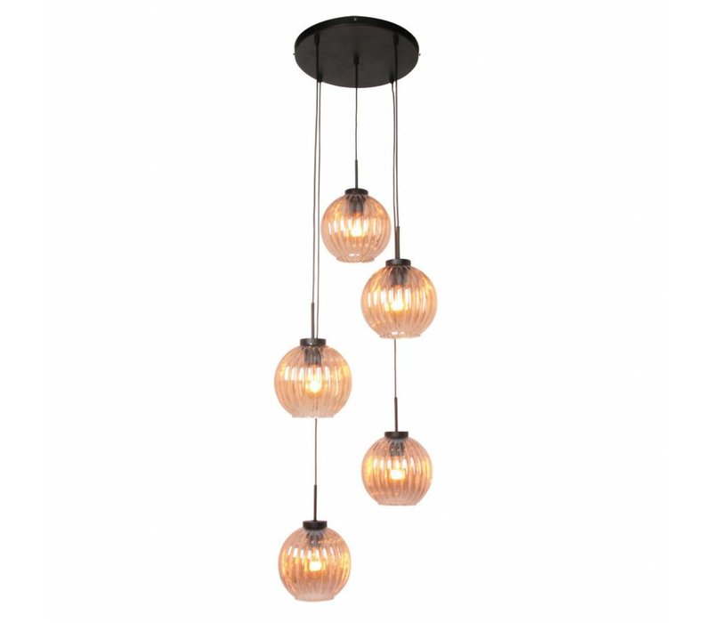 Hanglamp Zucca 5 lichts rond Amber
