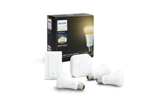 Philips HUE starterskit 3 LED lampen E27 White Ambiance met bridge en switch
