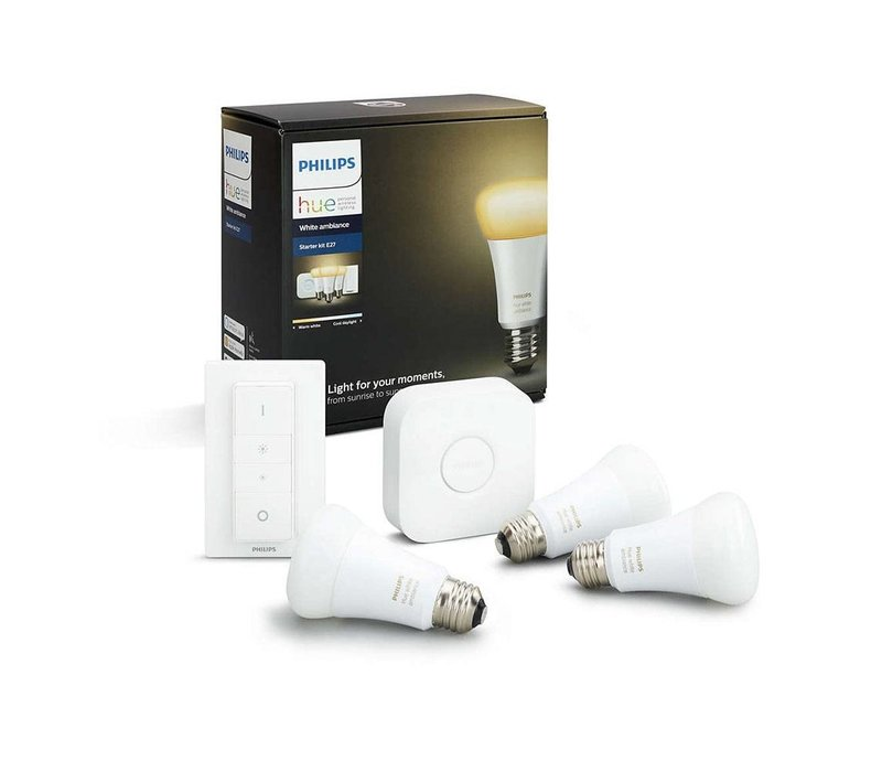HUE set Philips 3 LED lampen E27 White Ambiance met bridge en switch