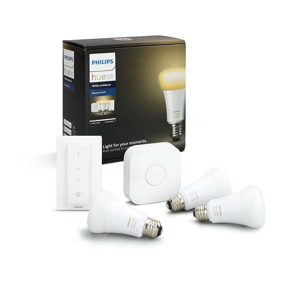 Philips HUE set Philips 3 LED lampen E27 White Ambiance met bridge en switch