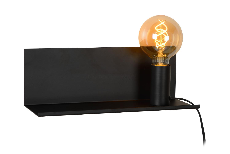 Lucide SEBO Bedlamp-Zwart-1xE27-40W-Metaal