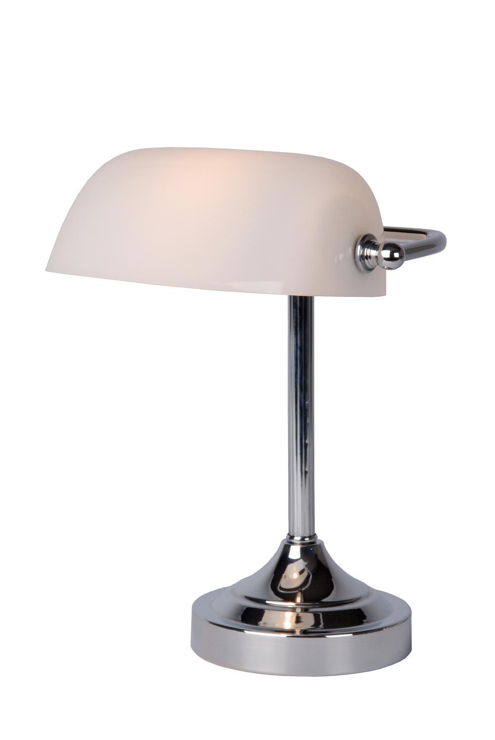 Lucide BANKER Lamp E14 L22cm H30cm Glas Wit/Chroom