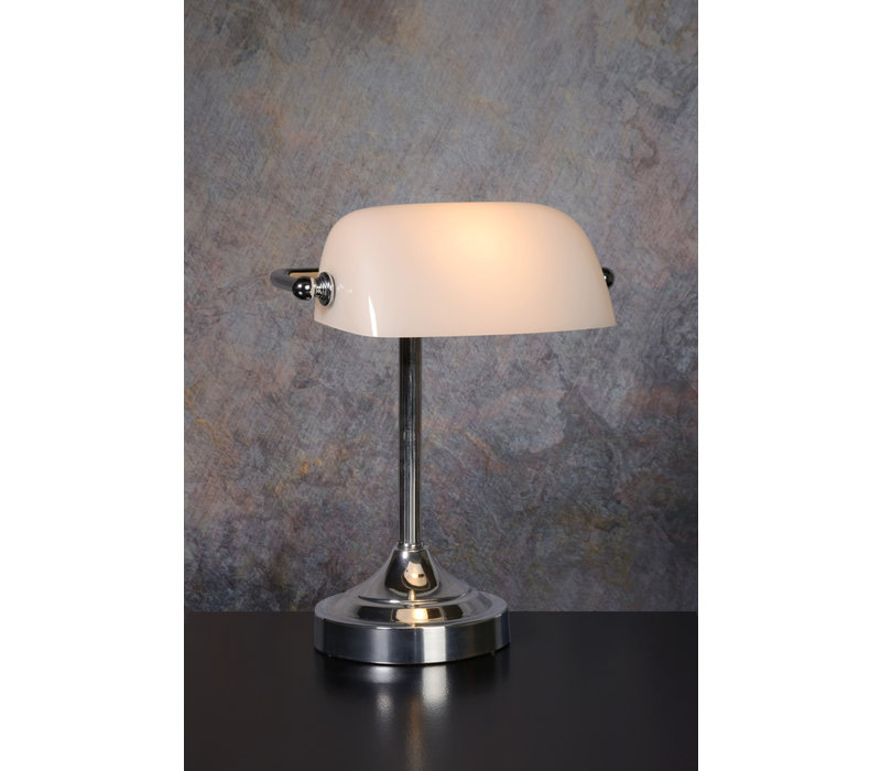 BANKER Lamp E14 L22cm H30cm Glas Wit/Chroom