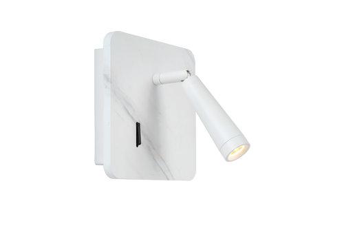 Lucide OREGON Bedlamp-Wit-LED-3W-3000K-Met USB oplaadpunt