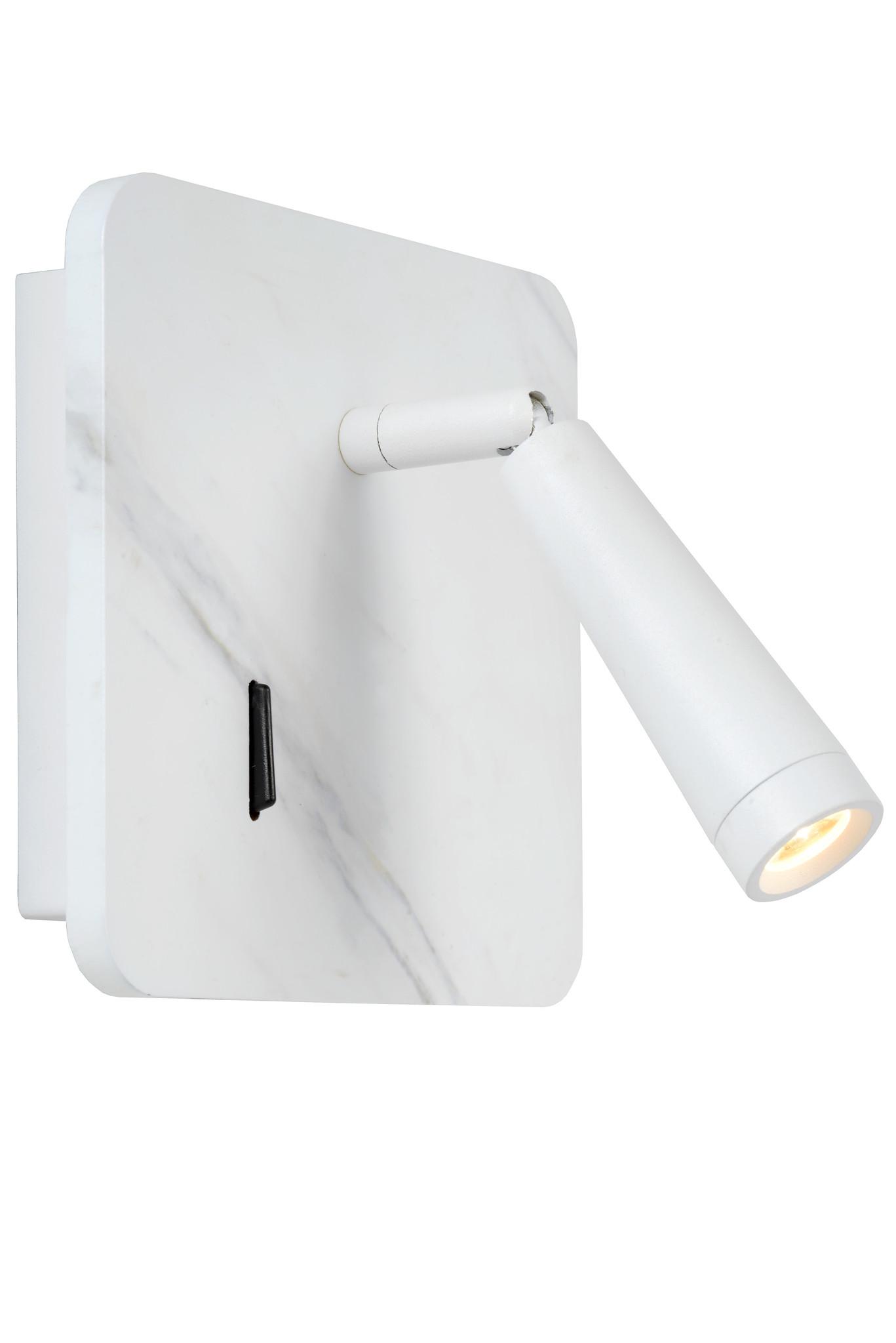 Lucide OREGON Bedlamp-Wit-LED-4W-3000K-Met USB oplaadpunt