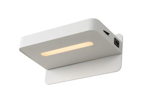 Lucide ATKIN Wandlicht LED 5W+ USB poort 25/14/11cm Wit