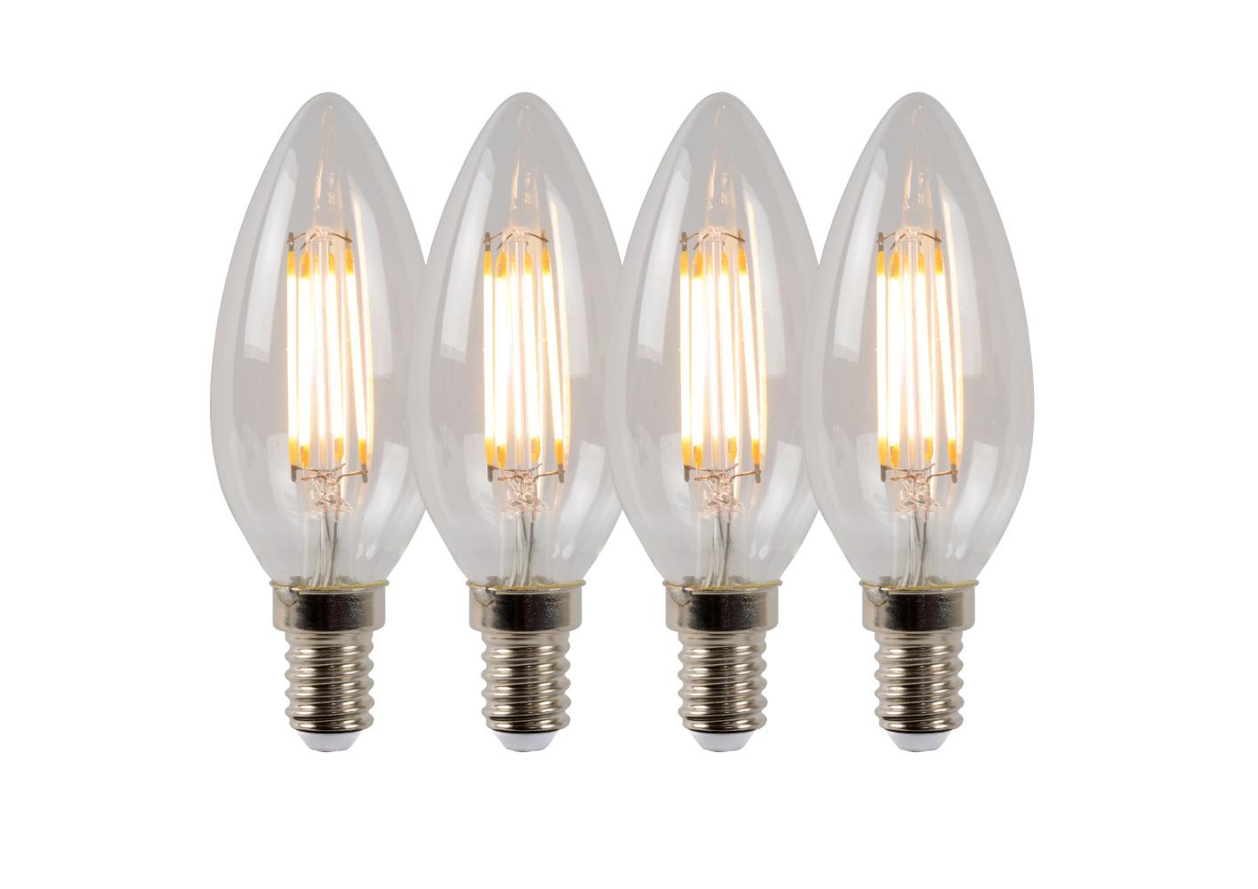 Lucide C35 Fil. lamp-Transp.-LED Dimb.-4xE14-4W-2700K