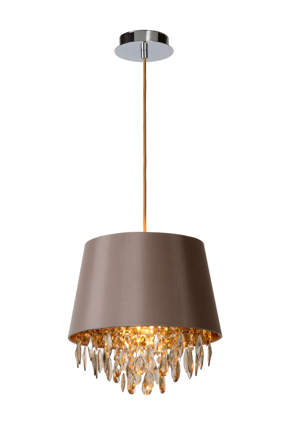 Lucide DOLTI Hanglamp-Taupe-Ø30,5-1xE27-60W-Acryli.