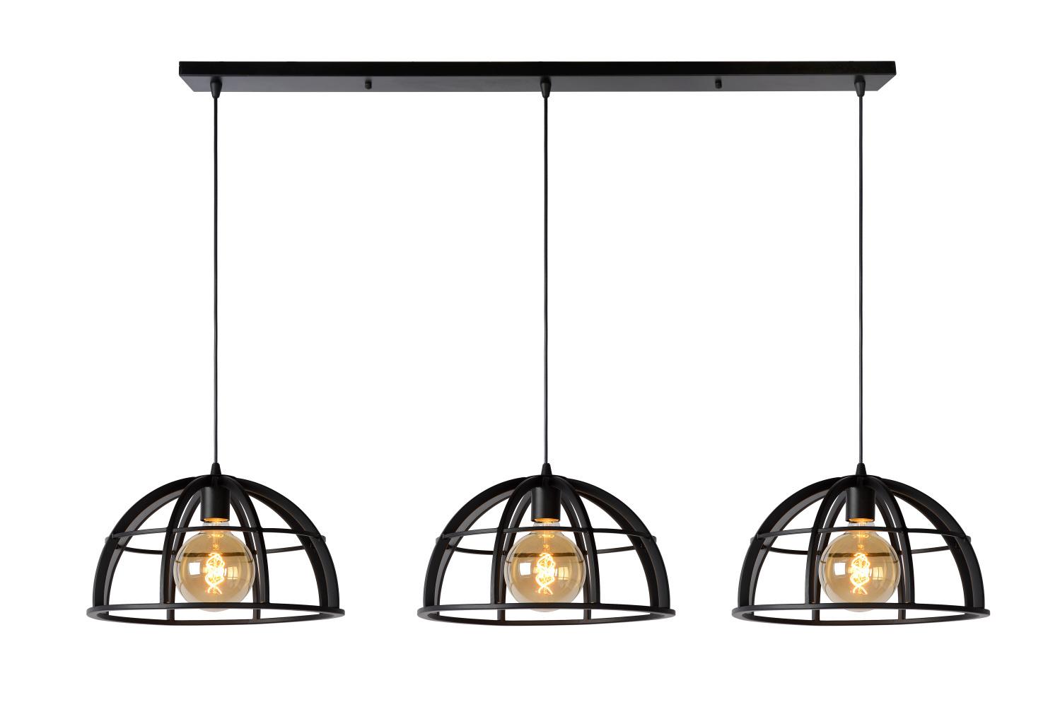 Lucide DIKRA Hanglamp-Zwart-Ø40-3xE27-60W-Metaal