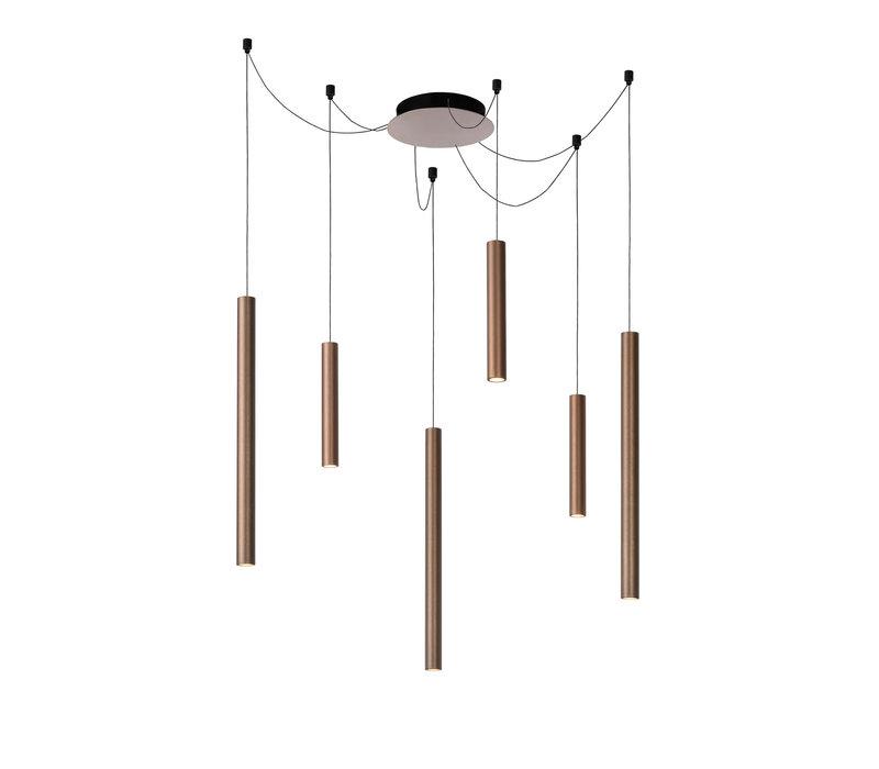 LORENZ Hanglamp LED  6x4W Satijn Koper