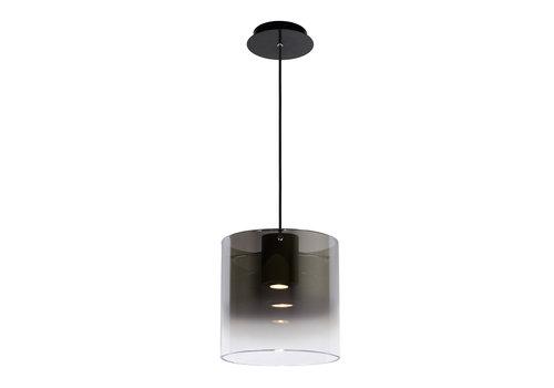Lucide OWINO Hanglamp 1x GU10 LED Ø 25cm Zwart/Fumé Glas