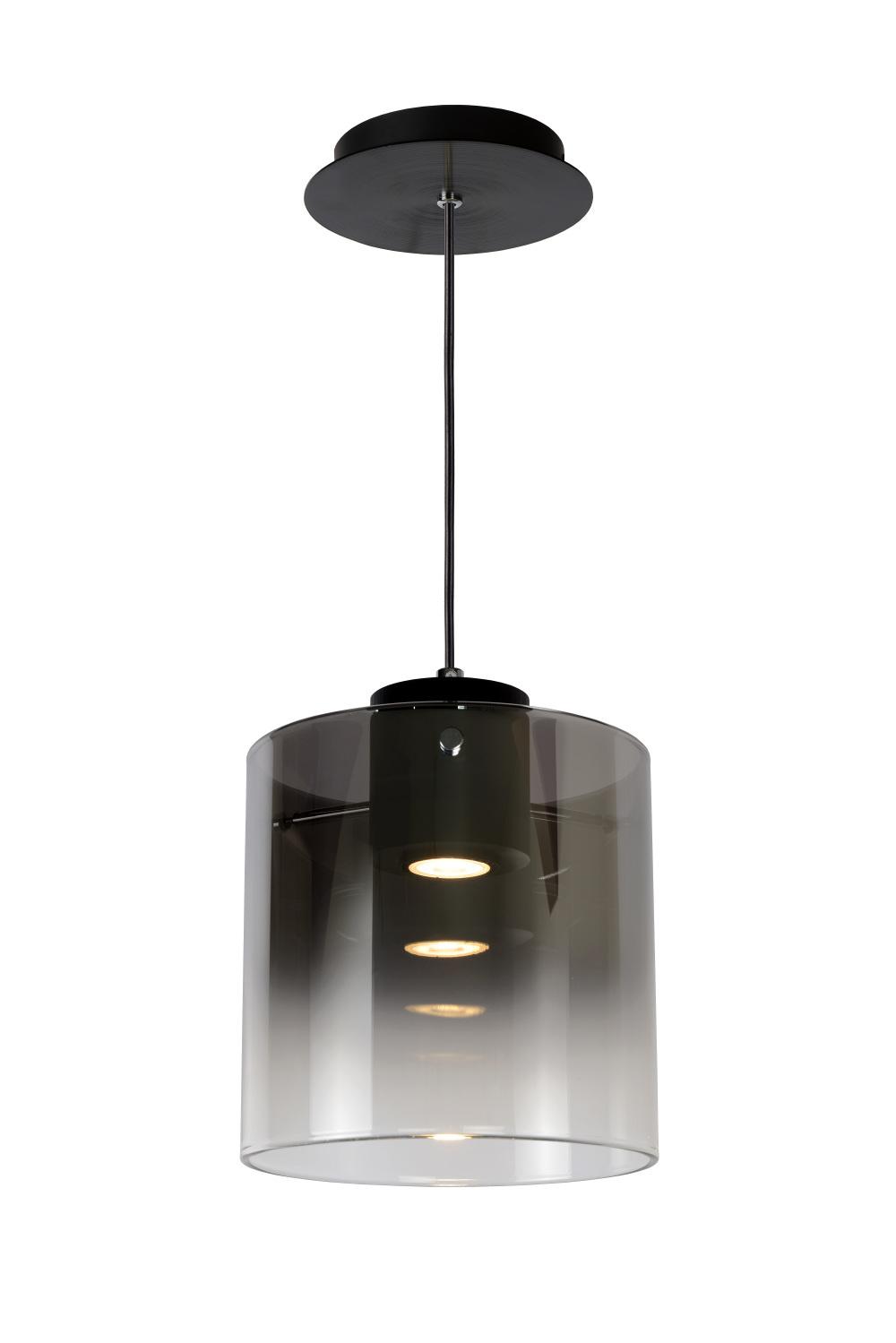 Lucide OWINO Hanglamp 1x GU10 LED Ø 20cm Zwart/Fumé Glas