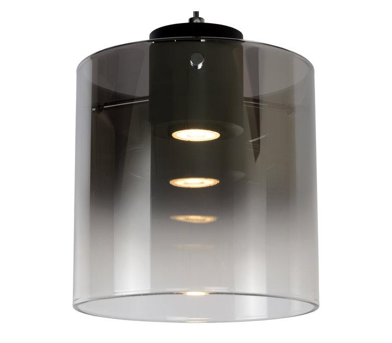 OWINO Hanglamp 1x GU10 LED Ø 20cm Zwart/Fumé Glas