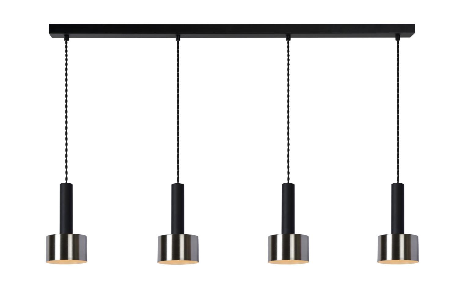 Lucide TEUN Hanglamp-Zwart-4xE27-40W-Staal