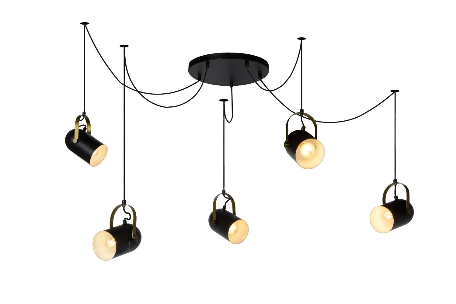 Lucide SWAPP Hanglamp-Zwart-5xE27-40W-Staal