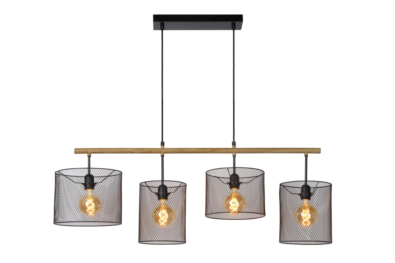 Lucide BASKETT Hanglamp-Zwart-4xE27-60W-Metaal