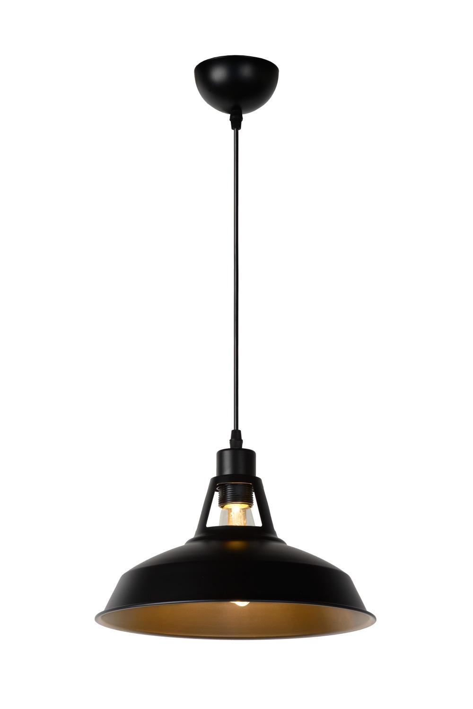 Lucide BRASSY-B. Hanglamp-Zwart-Ø31-1xE27-60W-Metaal