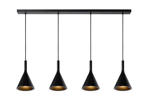 Lucide GIPSY Hanglamp-Zwart-4xE27-25W-Beton