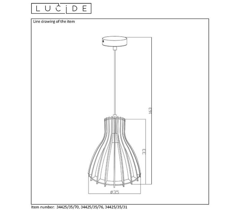 BOUNDE Pendel E27 D35 H33cm Licht  Hout