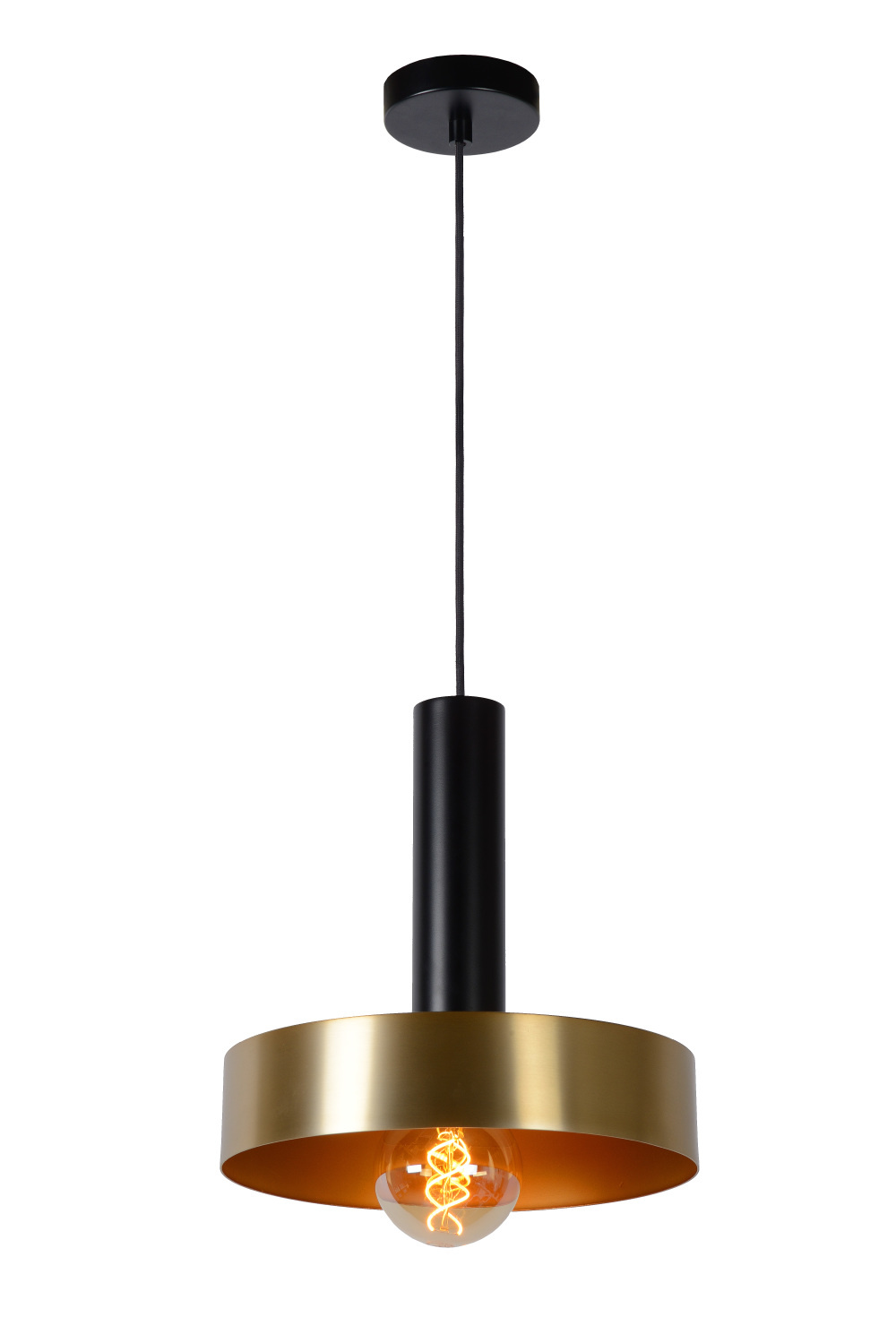 Lucide GIADA Hanglamp E27/60W Ø30cm Mat Zwart/Mat Goud